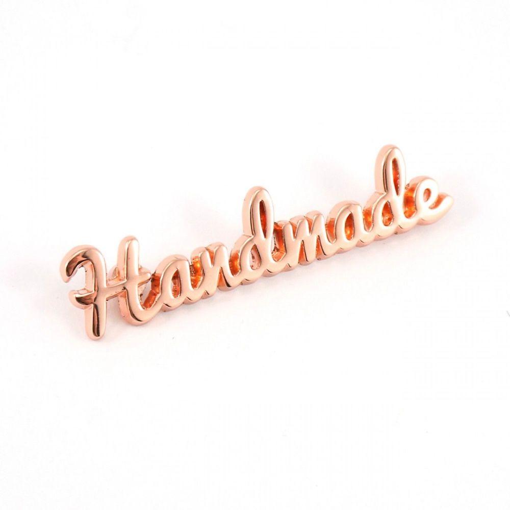 'Handmade' Script Bag Making Label Rose Gold Copper Emmaline Bags Hardware