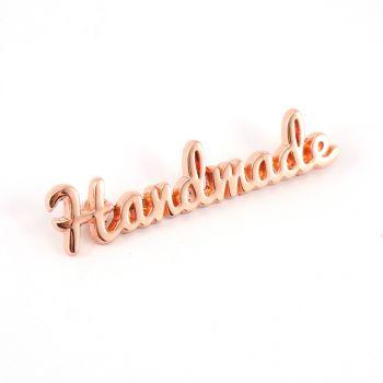 'Handmade' Script Bag Making Label Rose Gold Copper Emmaline Bags Hardware Purse Supplies