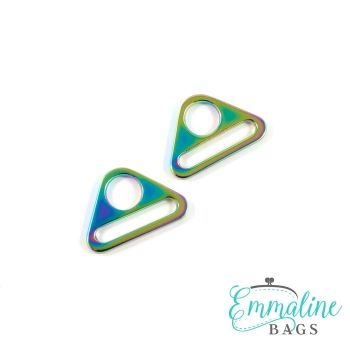 """Triangle Rings 1"""" Hardware Rainbow Iridescent by Emmaline Bags for Bag and Purse Making - Set of 2"""