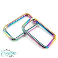 """Rectangular Rings 1.5"""" Hardware Rainbow Iridescent Rectangle Ring by Emmaline Bags for Bag and Purse Making - Set of 4"""