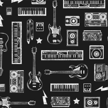 Pour Some Sugar on Me After Dark Guitars Keyboards Stereo Dear Stella Cotton Fabric