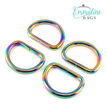 """D-Rings 1"""" Hardware Rainbow Iridescent D-Ring by Emmaline Bags for Bag and Purse Making - Set of 4"""