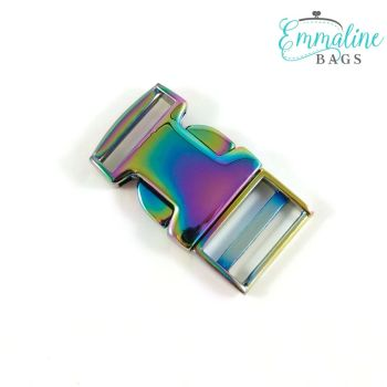 """Side Release Buckle 3/4"""" Hardware Rainbow Iridescent by Emmaline Bags for Bag and Purse Making"""