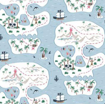 Bootylicious - Ahoy Mate! Bootylicious Pirate Ship Map Dear Stella Cotton Fabric