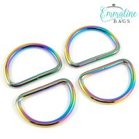 """D-Rings 1.5"""" Hardware Rainbow Iridescent D-Ring by Emmaline Bags for Bag and Purse Making - Set of 4"""