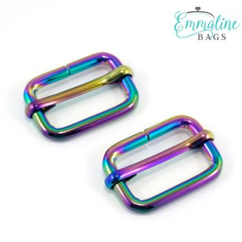 """Adjustable Slider 1"""" Hardware Rainbow Iridescent Rectangle Sliders by Emmaline Bags for Bag and Purse Making - Set of 2"""