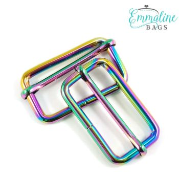 """Adjustable Slider 1.5"""" Hardware Rainbow Iridescent Rectangle Sliders by Emmaline Bags for Bag and Purse Making - Set of 2"""