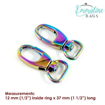 """Swivel Snap Hook 0.5"""" Hardware Rainbow Iridescent Designer Profile by Emmaline Bags for Bag and Purse Making - Set of 2"""