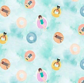Summer Lovin' Summer Lovin Rubber Ring Swimming Pool Sunbathing Inflatables Holiday Summer Floaties Dear Stella Cotton Fabric