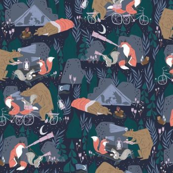 Night Ride by Rae Ritchie Night Ride in Blueberry Woodland Foxes Telescope Astronomy Dear Stella Cotton Fabric