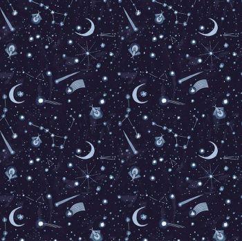 Lantern Light by Rae Ritchie Night Sky Shooting Stars Crescent Moons Constellations Fireflies Dear Stella Cotton Fabric