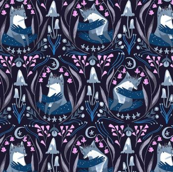 Lantern Light by Rae Ritchie Foxes Nighttime Woodland Floral Foxes Dear Stella Cotton Fabric