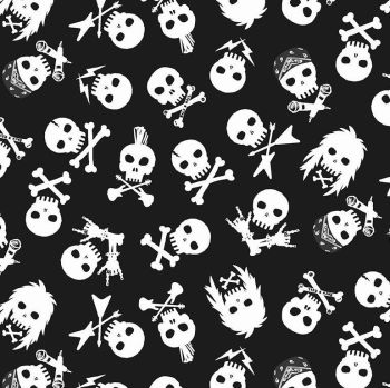 Pour Some Sugar on Me Shot Through the Heart White Skulls Music Metal Rockband Dear Stella Cotton Fabric