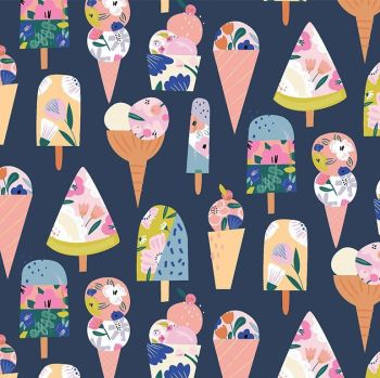 What's The Scoop? What's The Scoop Ice Cream Cones Popsicle Ice Lolly Icecreams Dear Stella Cotton Fabric
