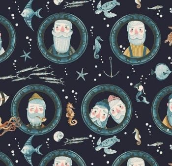 Hook, Line and Sinker Portholes Anchors Fisherman in Marlin Nautical Fish Turtles Seahorse Dear Stella Cotton Fabric