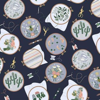 Sew On & Sew Forth Embroidery Hoops Floral Cactus Bee Needle Thread Dear Stella Cotton Fabric