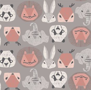 New Here by Rae Ritchie Animal Heads in Storm Pandas Lions Elephants Rabbits Deer Dear Stella Cotton Fabric
