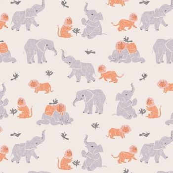 New Here by Rae Ritchie Three's Company Birds Lions Elephants Friends Dear Stella Cotton Fabric