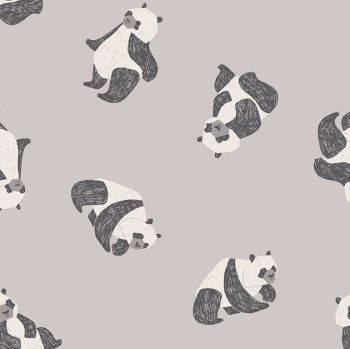 New Here by Rae Ritchie Pandas Fog Panda Bears Dear Stella Cotton Fabric