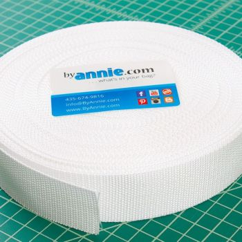 By Annie Strapping 1.5 Inch Wide White - Bag Handles and Straps Webbing White Polypropylene Polypro - Per Metre
