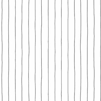 Buzzin Around White with Black Drawn Lines Pinstripe Stripes Cotton Fabric