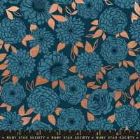 Stay Gold Sparkle Peacock Metallic Copper Floral Flower Ruby Star Society Melody Miller Cotton Fabric RS0022 15M