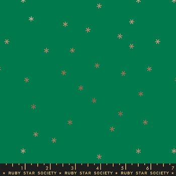 Spark Evergreen Star Metallic Gold Ruby Star Society Melody Miller Cotton Fabric