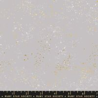 """Speckled 108"""" Wideback Dove Grey Metallic Gold Spatter Texture Quilt Backing 2.70m Extra Wide Cotton Fabric"""