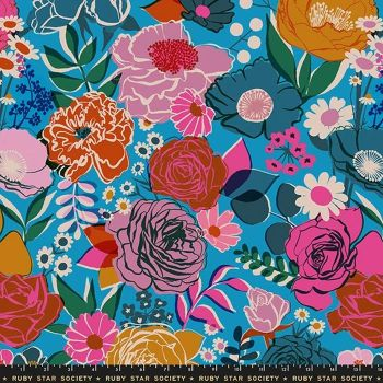 """Rise 108"""" Wideback Bloom Bright Blue Floral Botanical Quilt Backing 2.70m Ruby Star Society Melody Miller Extra Wide Cotton Fabric"""
