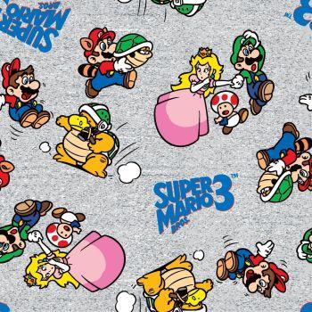 Nintendo Super Mario 3 Toss Characters Grey Luigi Princess Peach Toad Koopa Troopa Game Gamers Video Game Cotton Fabric
