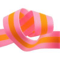 "PRE-ORDER Tula Pink Webbing - 1.5"" Bright Soft Pink and Tangerine Orange by Renaissance Ribbons sold per yard"