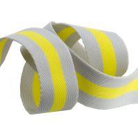 "PRE-ORDER Tula Pink Webbing - 1.5"" Soft Grey and Neon Yellow by Renaissance Ribbons sold per yard"