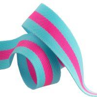 "PRE-ORDER Tula Pink Webbing - 1.5"" Tula Special: Blue Aqua with Hot Pink by Renaissance Ribbons sold per yard"