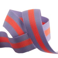 """PRE-ORDER Tula Pink Webbing - 1.5"""" Lavender with Neon Peach by Renaissance Ribbons sold per yard"""