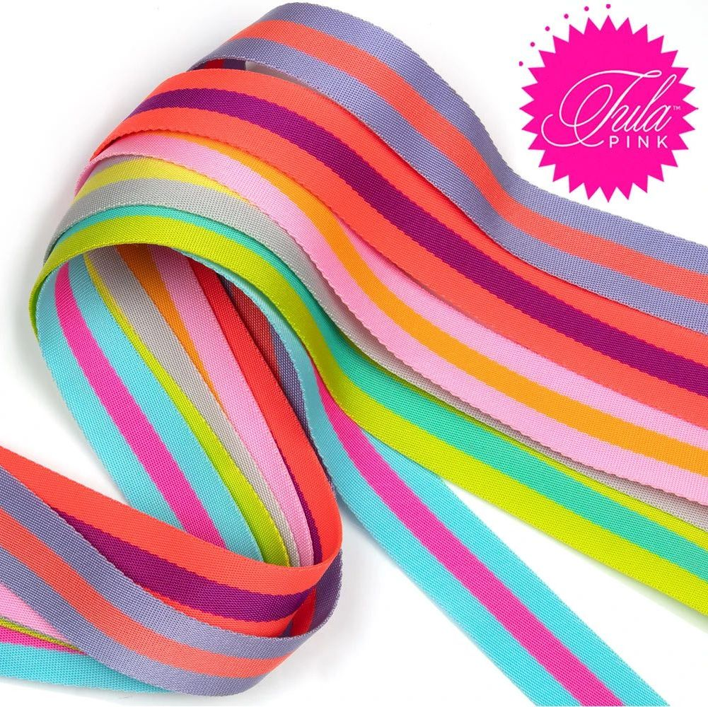 PRE-ORDER Tula Pink Webbing 6 Colours x 2 yard Pack Renaissance Ribbons