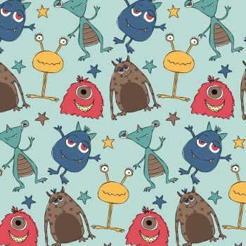 Michael Miller Super Fred Space Pals Aqua Alien Monsters Nursery Cotton Fabric