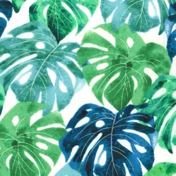 Garden Isle Luscious Leaves White Monstera Deliciosa Swiss Cheese Plant Leaf Tropical Botanical Cotton Fabric