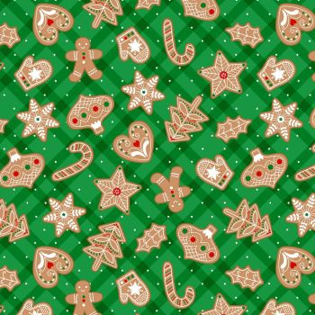 Vintage Holidays Gingerbread Treats Festive Christmas Biscuits Cotton Fabric by Michael Miller