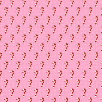 Under The Mistletoe Candy Cane Wishes Pink Festive Christmas Polkadot Cotton Fabric by Michael Miller