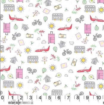Travel Daze Let's Go Places Pink Icons Planes Holiday Adventure Vacation Cotton Fabric