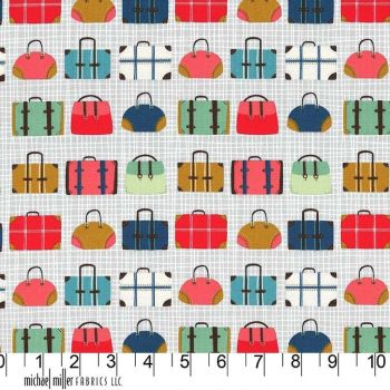 Travel Daze Pack Up Pewter Suitcase Luggage Holiday Adventure Vacation Cotton Fabric