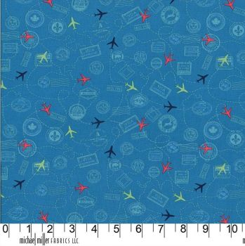 Travel Daze Mapped Out Teal Planes Passport Vacation Stamps Holiday Adventure Cotton Fabric