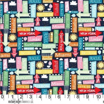 Travel Daze Many Directions Nite City Signs Holiday Vacation Adventure Cotton Fabric