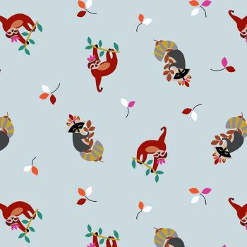 Living In The Wild New Friends Ice Blue Sloth Raccoon Cotton Fabric