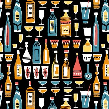 Kitschy Cocktails Mother's Little Helper in Black Cocktail Drink Happy Hour Cotton Fabric