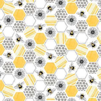 Queen Bee Buzzin Around Yellow Honeycomb Bees Floral Cotton Fabric