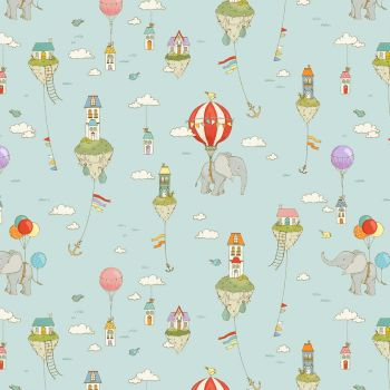 City Hoppers Islands in the Sky Nursery Floating Balloons Elephants Cotton Fabric