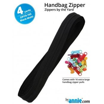 By Annie Zippers By The Yard 4 Yard Pack - Black Multi plus 16 Matching Pulls Handbag Zipper Zip