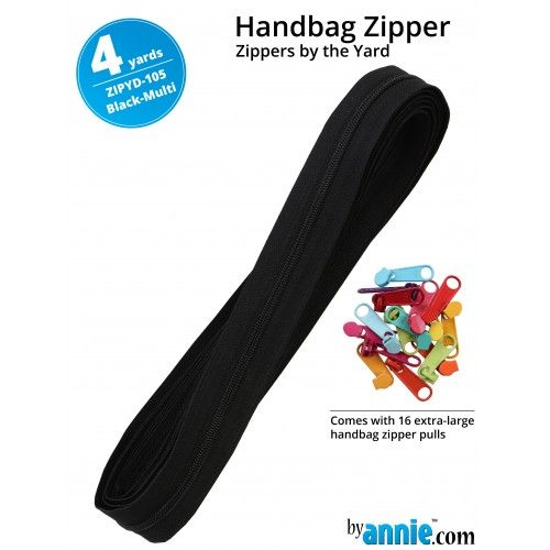 By Annie Zippers By The Yard 4 Yard Pack - Black Multi plus 16 Matching Pul