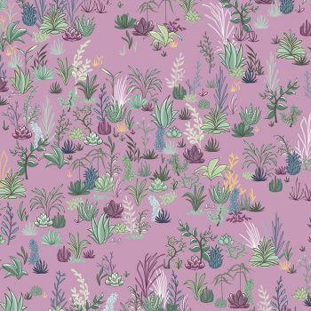 Greenhouse Gardens Desert Garden Purple Lavender Cactus Succulent Leaves Botanical Cotton Fabric